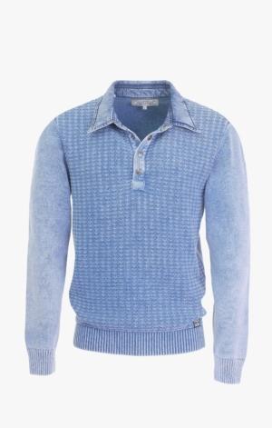 Indigo Blå Polo med Sildebånd og trykknapper til Mænd fra Piece of Blue