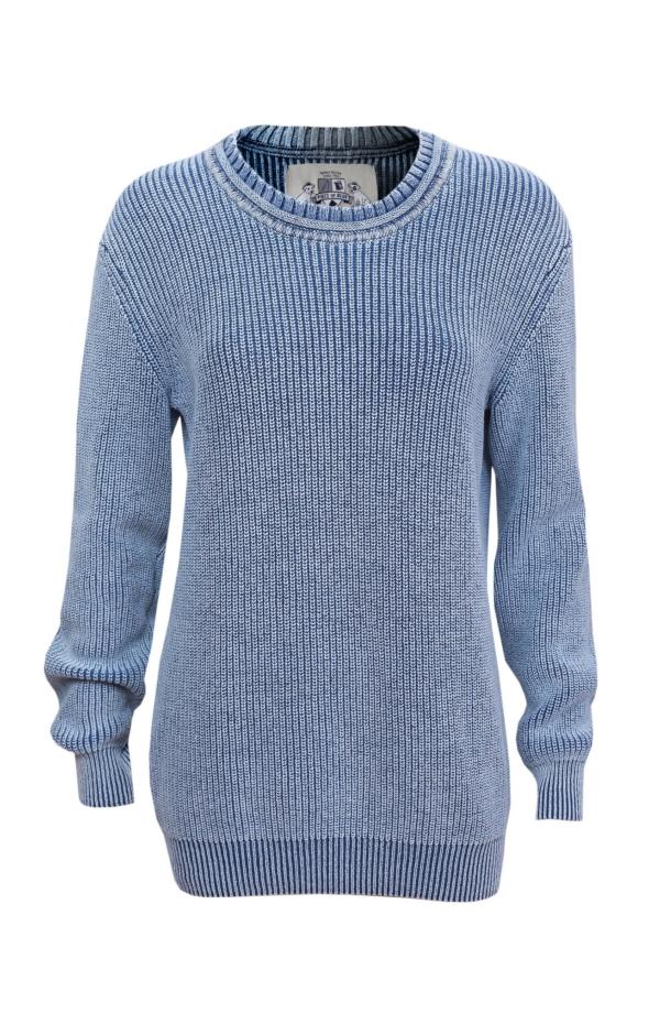 Patent strikket pullover i lys indigo blå. Piece of Blue