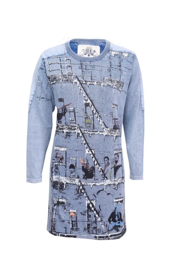 Langærmet Kjole med Print i Lys Indigo Blå. Piece of Blue