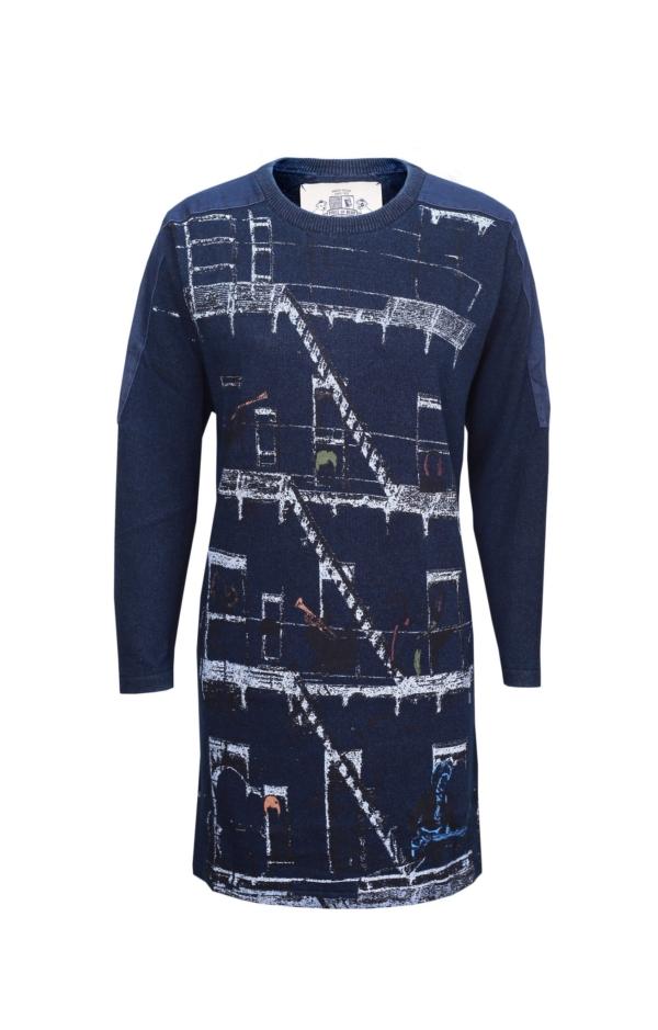 Langærmet Kjole med Print i Mørk Indigo Blå. Piece of Blue