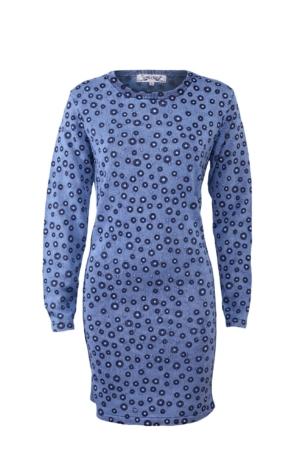 Feminin Printet Kjole i Lys Indigo Blå. Piece of Blue.