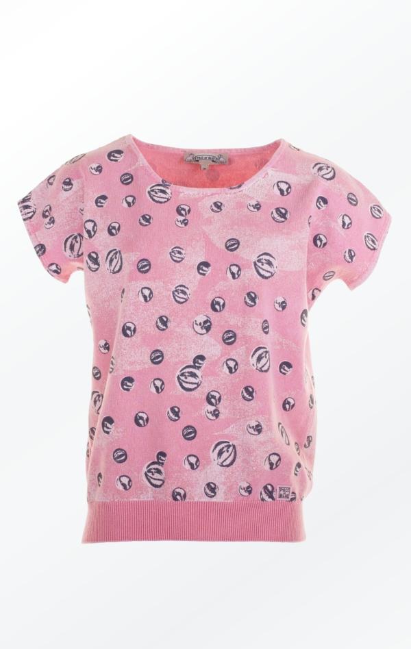 Feminin Pink marmorkugle Printet Pullover til Kvinder fra Piece of Blue