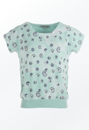 Feminin Mint marmorkugle Printet Pullover til Kvinder fra Piece of Blue.