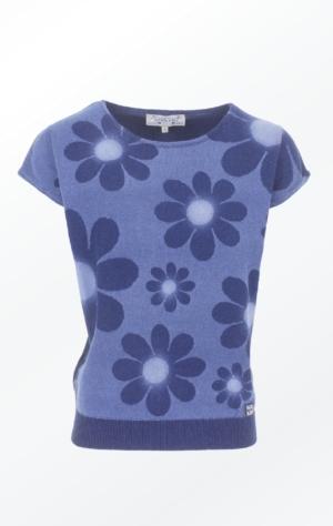 Kortærmet Indigo Pullover Strikket i ren Bomuld til Piger fra Piece of Blue