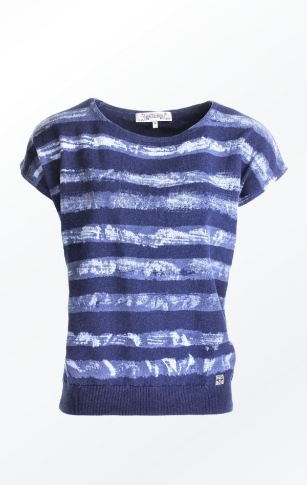 Kortærmet Stribet Indigo Pullover Strikket i Bomuld til Kvinder fra Piece of Blue