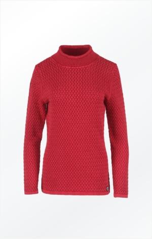 Elegant Rullekrave Pullover i Chili Rød. Piece of Blue