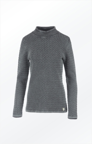 Elegant Rullekrave Pullover i Sort Grå. Piece of Blue