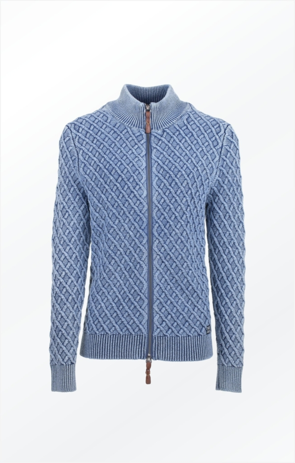 Zipped. Boyfriend Cardigan i Lys Indigo Blå. Piece of Blue