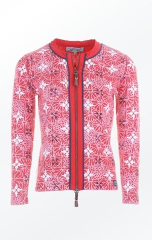 Elegant blomster Printet Cardigan i Rød til kvinder fra Piece of Blue.