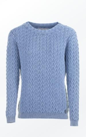 Elegant Boat Neck Pullover i Lys Indigo Blå til Kvinder fra Piece of Blue.