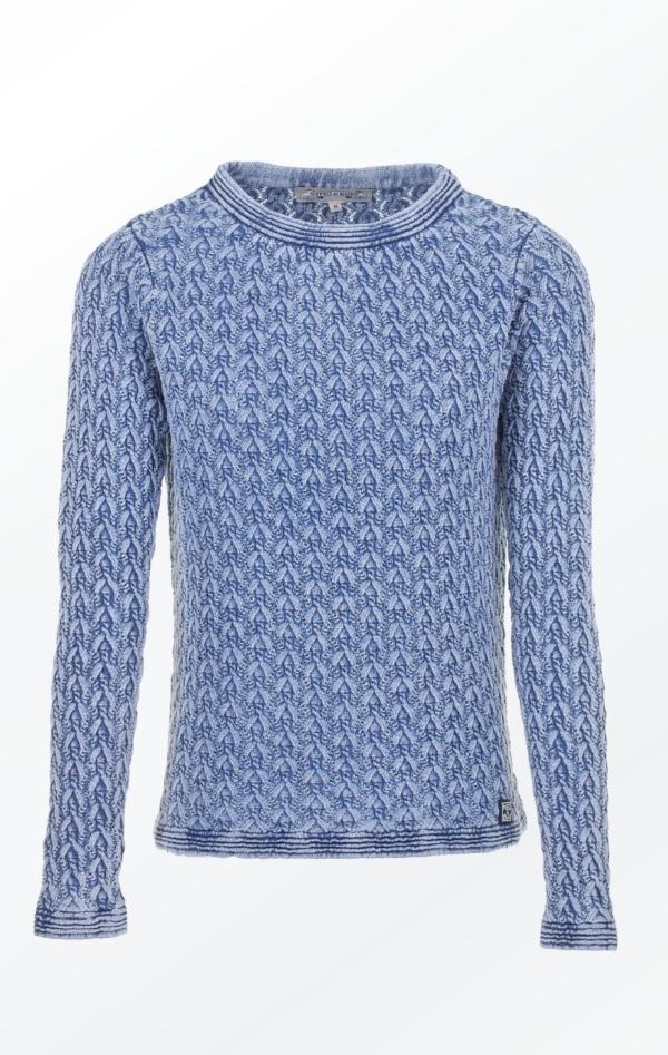 Elegant Pullover i Fint Strikmønster i Lys Indigo Blå fra Piece of Blue