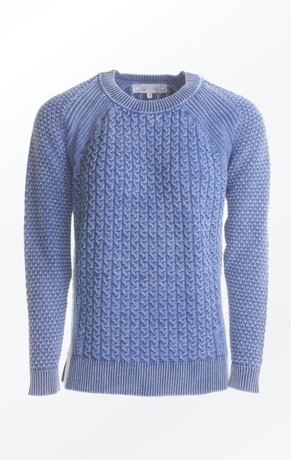 Loose Fit Pullover med Kabler i Lys Indigo Blå fra Piece of Blue