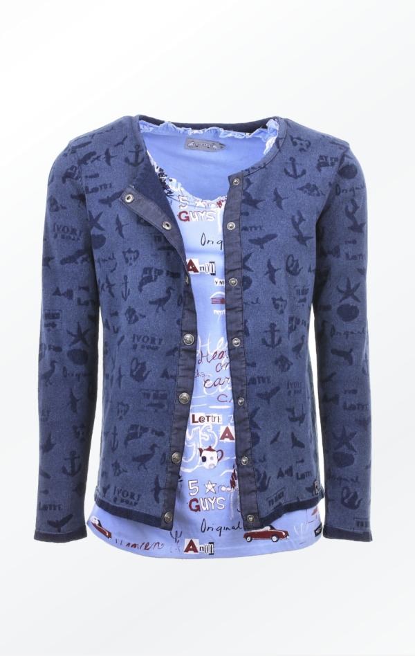 Fin laserprintet Indigo Cardigan i Bomuld med t-shirt til Kvinder fra Piece of Blue