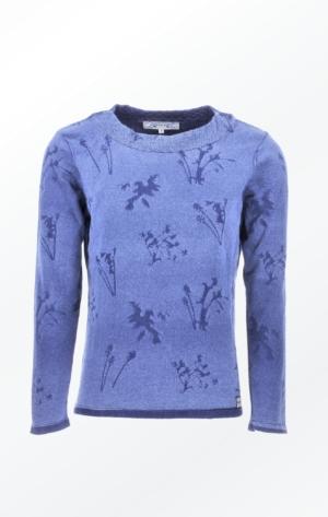 Indigo Blå Pullover Strikket i Ren Bomuld til Piger fra Piece of Blue