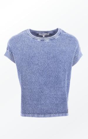 Feminin Indigo Blå Bomuldspullover med Korte Ærmer til Piger fra Piece of Blue