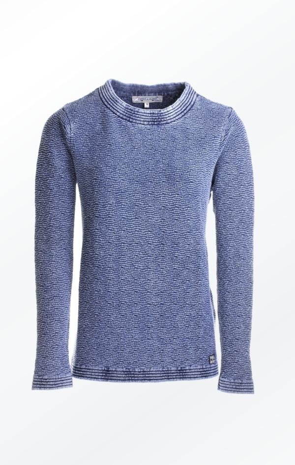 Feminin Indigo Blå Pullover Strikket i ren Bomuld til Piger fra Piece of Blue