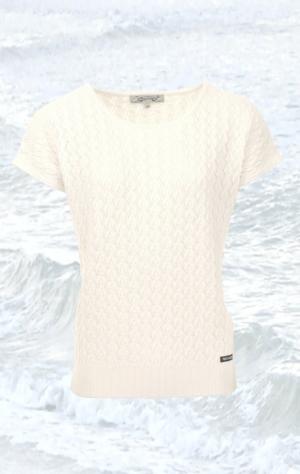 Hvid kortærmet Pullover Strikket i ren Bomuld med Fint Strikmønster til Kvinder fra Piece of Blue.