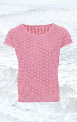 Pink kortærmet Pullover Strikket i ren Bomuld til Kvinder fra Piece of Blue.