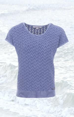 Blå kortærmet Pullover Strikket i ren Bomuld til Kvinder fra Piece of Blue.