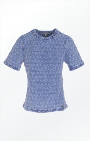 Kortærmet Trøje i et Fint Mønster i ren Bomuld fra Piece of Blue