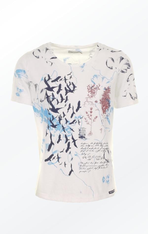 Håndprintet Hvid T-shirt med Flot Mønster til Piger fra Piece of Blue