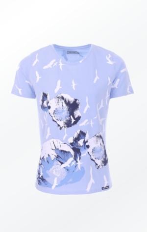 Håndprintet Blå T-shirt med Flot Mønster til Piger fra Piece of Blue