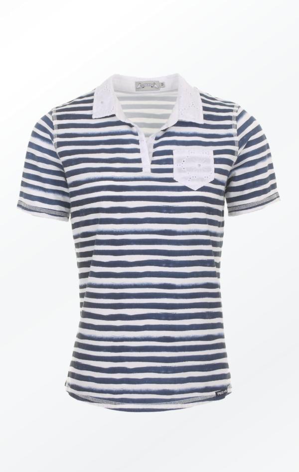 Håndprintet Stribet Marineblå og Hvid T-shirt til Piger fra Piece of Blue