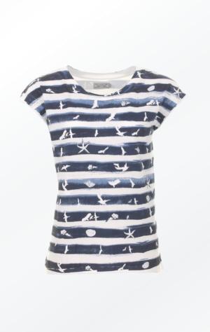 Håndprintet Marineblå T-shirt med Flotte Motiver til Piger fra Piece of Blue