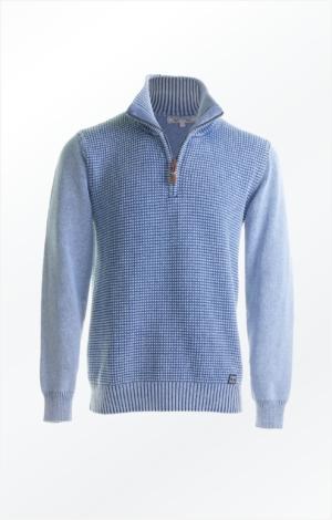 Enkel Bomuldspullover i Lys Indigo Blå til Herre fra Piece of Blue