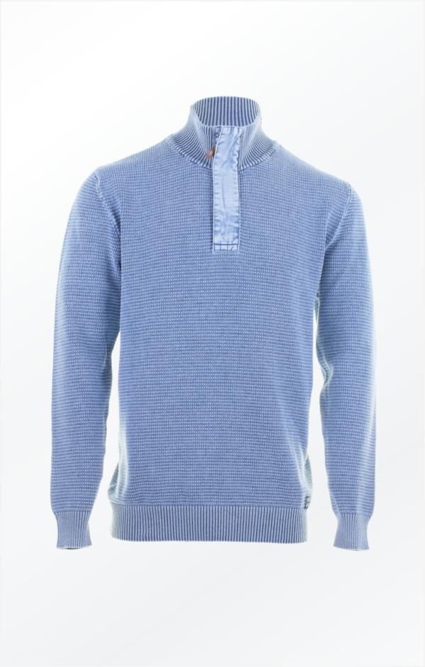 Pullover med Lynlås i Lys Indigo Blå til Mænd fra Piece of Blue