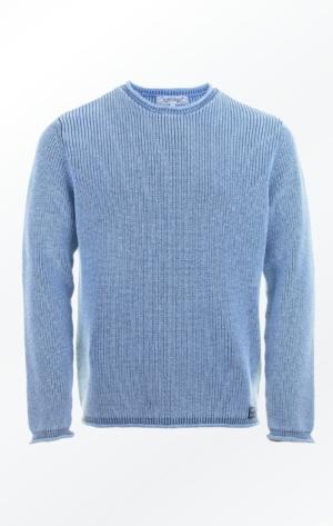 Elegant O-hals Pullover i Lys Indigo Blå til ham fra Piece of Blue