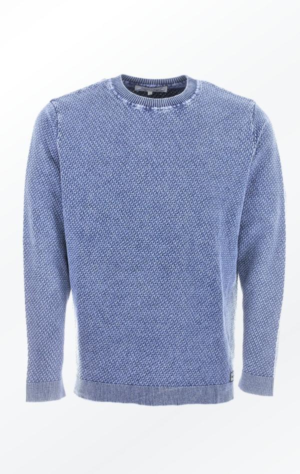 Enkel Lys Indigo Blå O-Hals Pullover med Ribber fra Piece of Blue