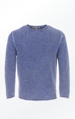 Indigo Bomuldstriktrøje i flot Strikmønster til Ham fra Piece of Blue