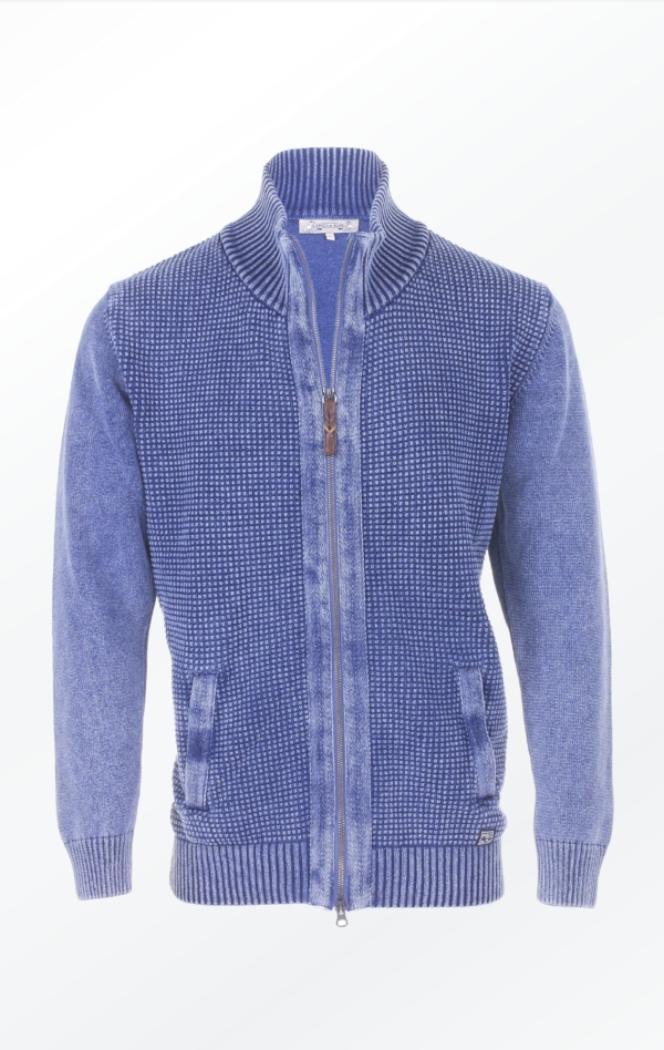 Flot Indigo Blå Strikjakke lavet i ren Bomuld til Mænd fra Piece of Blue