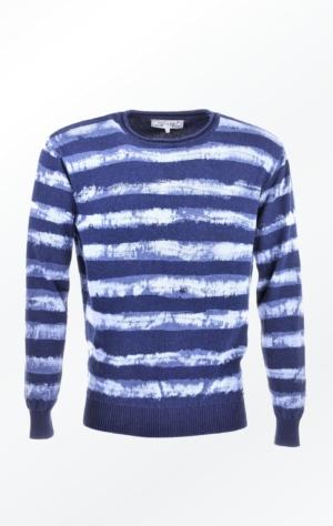 Indigo Blå Bomuldstriktrøje med Striber til Ham fra Piece of Blue