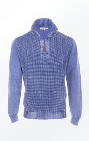 Flot Indigo Blå Striktrøje lavet i ren Bomuld til Mænd fra Piece of Blue