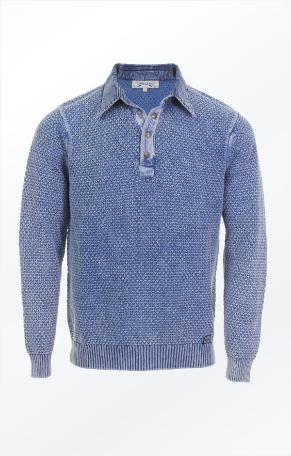 Indigoblå Polo Strikket i ren Bomuld til Mænd fra Piece of Blue