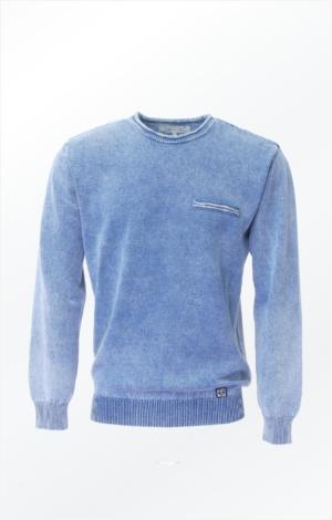 Lys Indigoblå Pullover Strikket i ren Bomuld til Mænd fra Piece of Blue