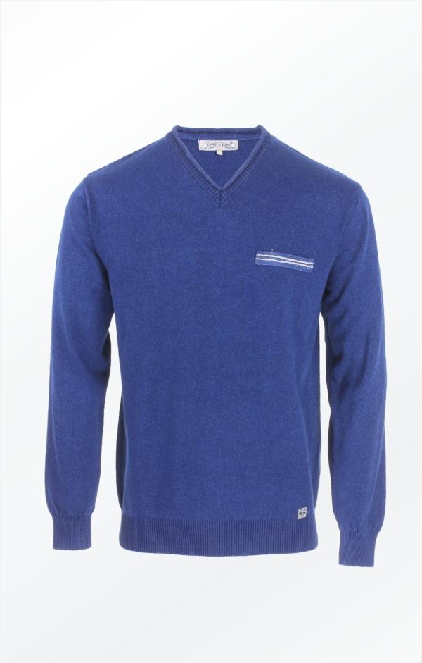 Indigoblå Pullover Strikket i ren Bomuld til Mænd fra Piece of Blue
