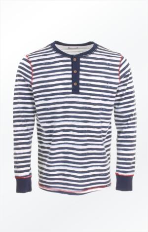 Langærmet Blå- og Hvidstribet T-Shirt til Mænd fra Piece of Blue